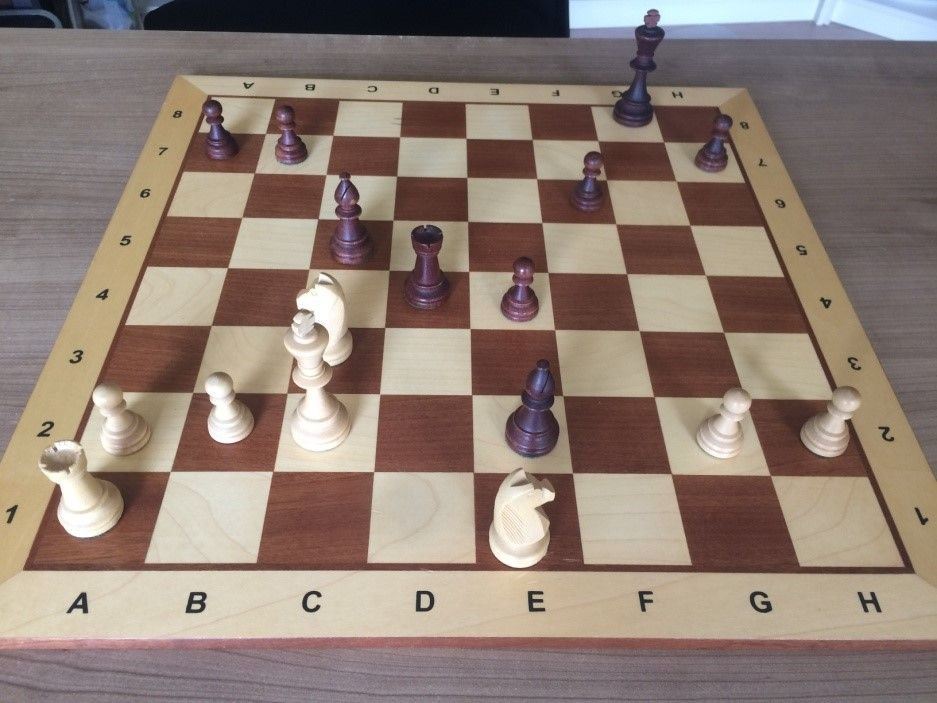 Figuur 1 Guido met zwart 'vergeet' dat zijn loper ongedekt staat en speelt e3.....