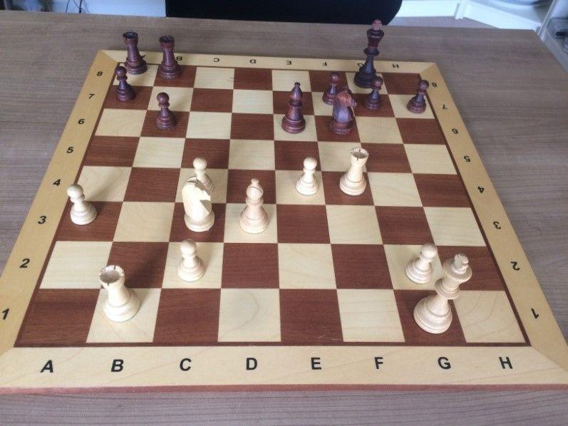 Figuur 4 Stelling na ... - b6. Wit kan met e5 gevolgd door Le4 de kwaliteit winnen. Uiteraard speel ik dat niet. Na Pd5 - Pe8 werd de vrede getekend.